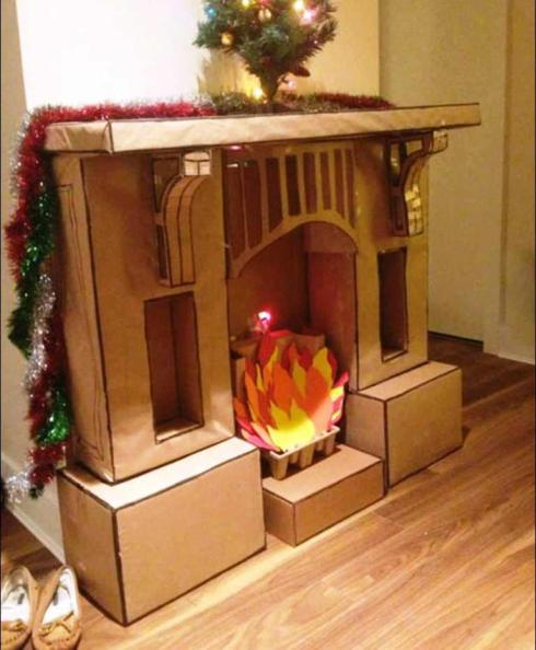 DIY-Cardboard-Fireplace